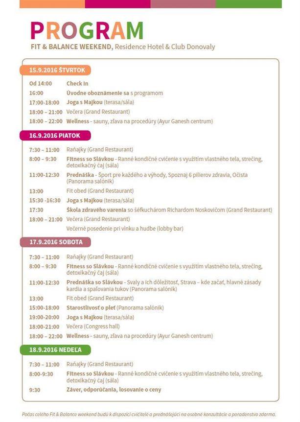 Program Fit&Balance Weekend
